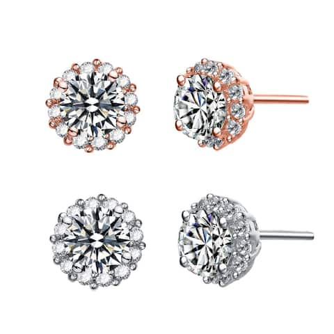 Alberto Moore Rhodium Plated Clear Round Cubic Zirconia Halo Classic Stud Earrings