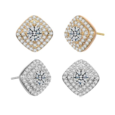 Alberto Moore Rhodium Plated Clear Round Cubic Zirconia Two Halo Stud Earrings