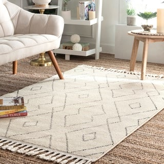 The Curated Nomad Ashbury Contemporary Geometric Tassel Area Rug