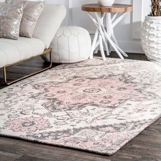 Pink Wool Traditional Handmade Floral Medallion Area Rug
