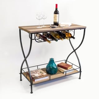 OS Home and Office Furniture Model 475049 Rustic Barnwood Industrial Metal and Wood Wine Rack Sofa Table