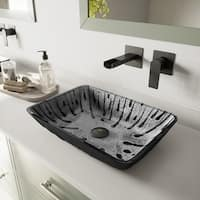 VIGO Plutonian Glass Vessel Vanity Bathroom Sink