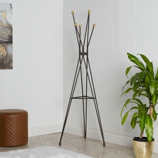 Kellie Metal Tripod Grey Coat Rack with Goldtone Orbs
