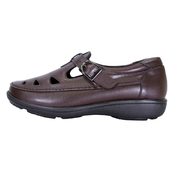24 Hour Comfort Annette Women Wide Width Casual Leather Loafer with  Adjustable Buckle Fastener Strap FootwearUS LC09049 Work & Safety Uniform  Dress Shoes