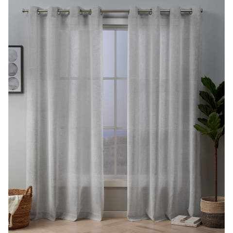 Silver Orchid Robey Embellished Sheer Grommet Top Curtain Panel Pair