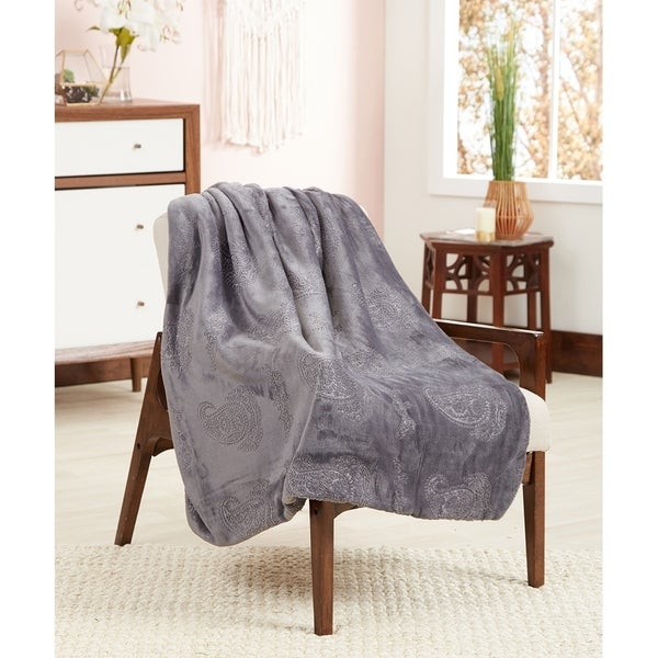 "POSH HOME Luxurious 3D Paisley Super Soft Sherpa Reversible Throw Blanket 50"" x 60"" Perfect Gift"
