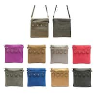Square Crossbody Bag with Flower Accents and Adjustable Strap
