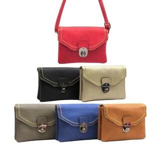 Pebble Lock Shoulder Bag with Multiple Pockets and Polka Dot Lining