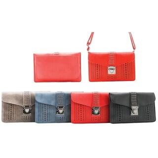 Multi Lazer Cut Circle Pattern Crossbody Bag with Adjustable Strap