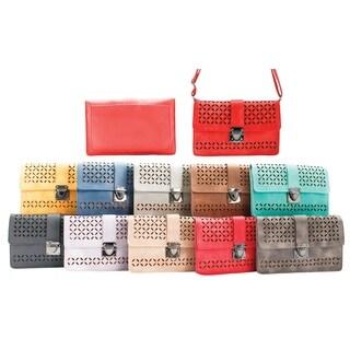 Lazer Cut X Pattern Crossbody Bag with lock and Adjustable Strap