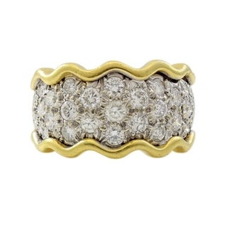 18K Two tone Gold 3ct Diamonds Estate Band Ring