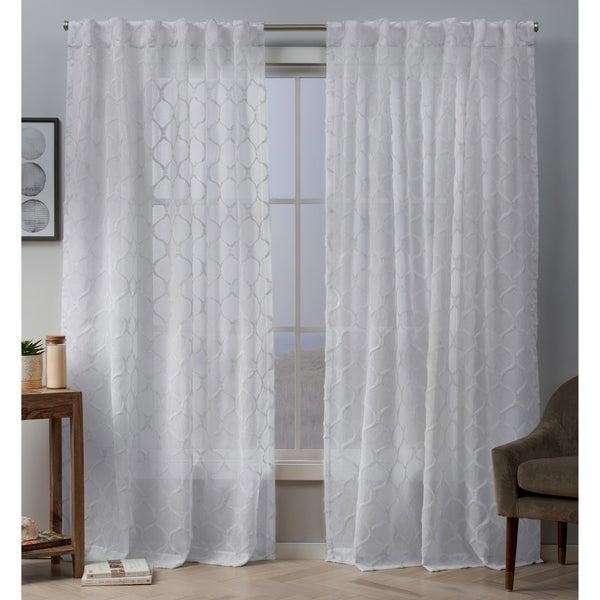ATI Home Bradford Embellished Sheer Hidden Tab Top Curtain Panel Pair