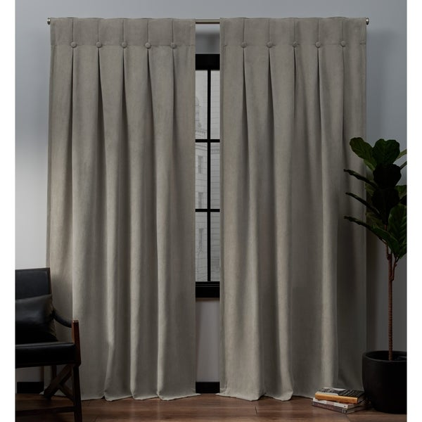 ATI Home Ghent Metrosuede Inverted Pleat Button Top Curtain Panel Pair