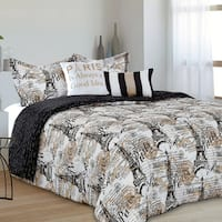 Amelie Chic Paris Reversible 5 Piece Comforter Set