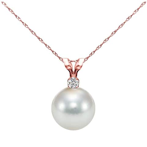 DaVonna 14k Gold 8-8.5 mm Japanese Akoya Cultured Pearl .05 CTTW Diamond Chain Pendant Necklace 18 inch