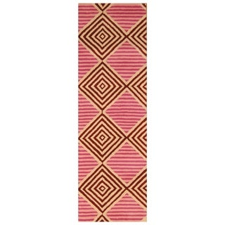 Handmade Tibetan Wool Rug (India) - 2'6 x 8'1