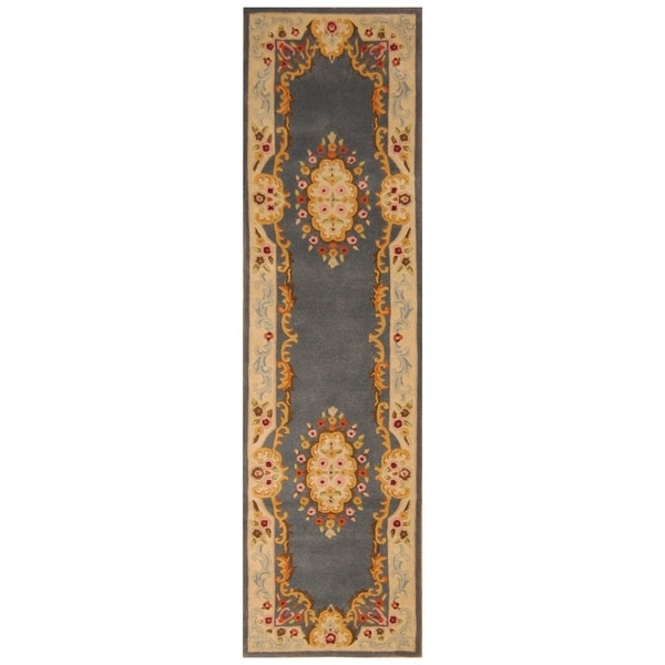 Handmade Aubusson Wool Rug (India) - 2'2 x 9'9