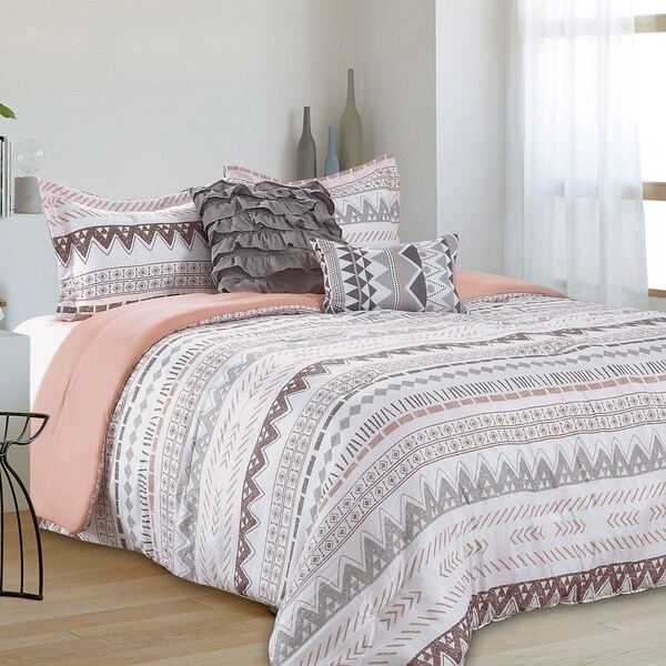 Shop Cairo Aztec Stripe Reversible 5 Piece Comforter Set