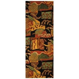 Handmade Tibetan Wool Rug (India) - 2'7 x 7'3