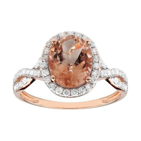 14K Rose Gold 3.01ct TW Morganite and Diamond Ring