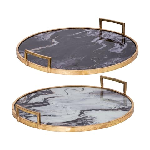 A&B Home Black and Gold Decorative Trays (Set of 2)
