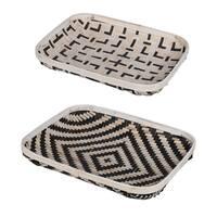 Set of 2 Organic Elements Geometric Black and White Wash Trays