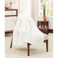 Posh Home Luxurious Lightweight Embossed Herringbone Super Soft Sherpa Throw Blanket