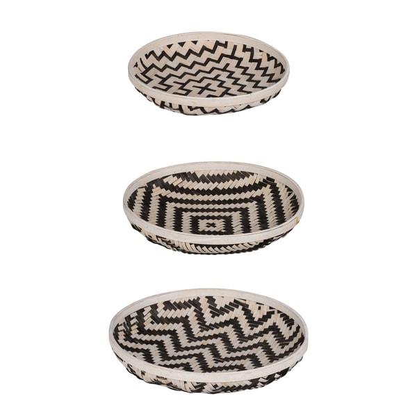 Set of 3 Organic Elements Geometric Black and White Wash Trays