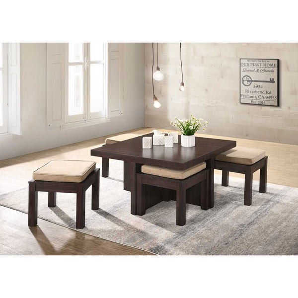 Brown and Beige Linen Upholstered Space-saving 5-piece Coffee Table and Storage Stool Set