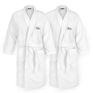 Kaufman - HIS and HER Embroidered Velour Sugar Cube White Shawl Robe. Set of 2.BLACK