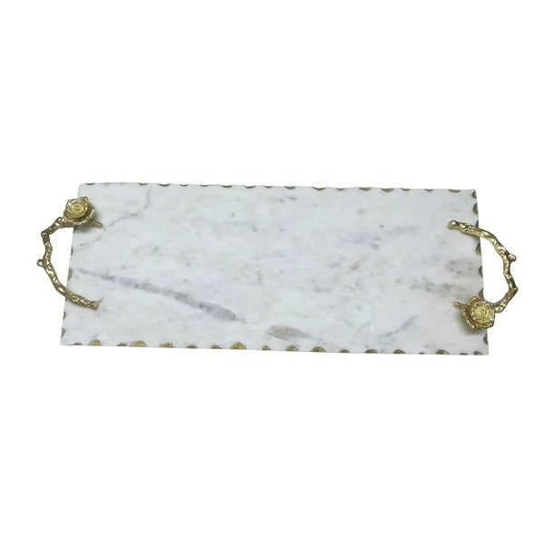 Marble Tray W/Flower Handles