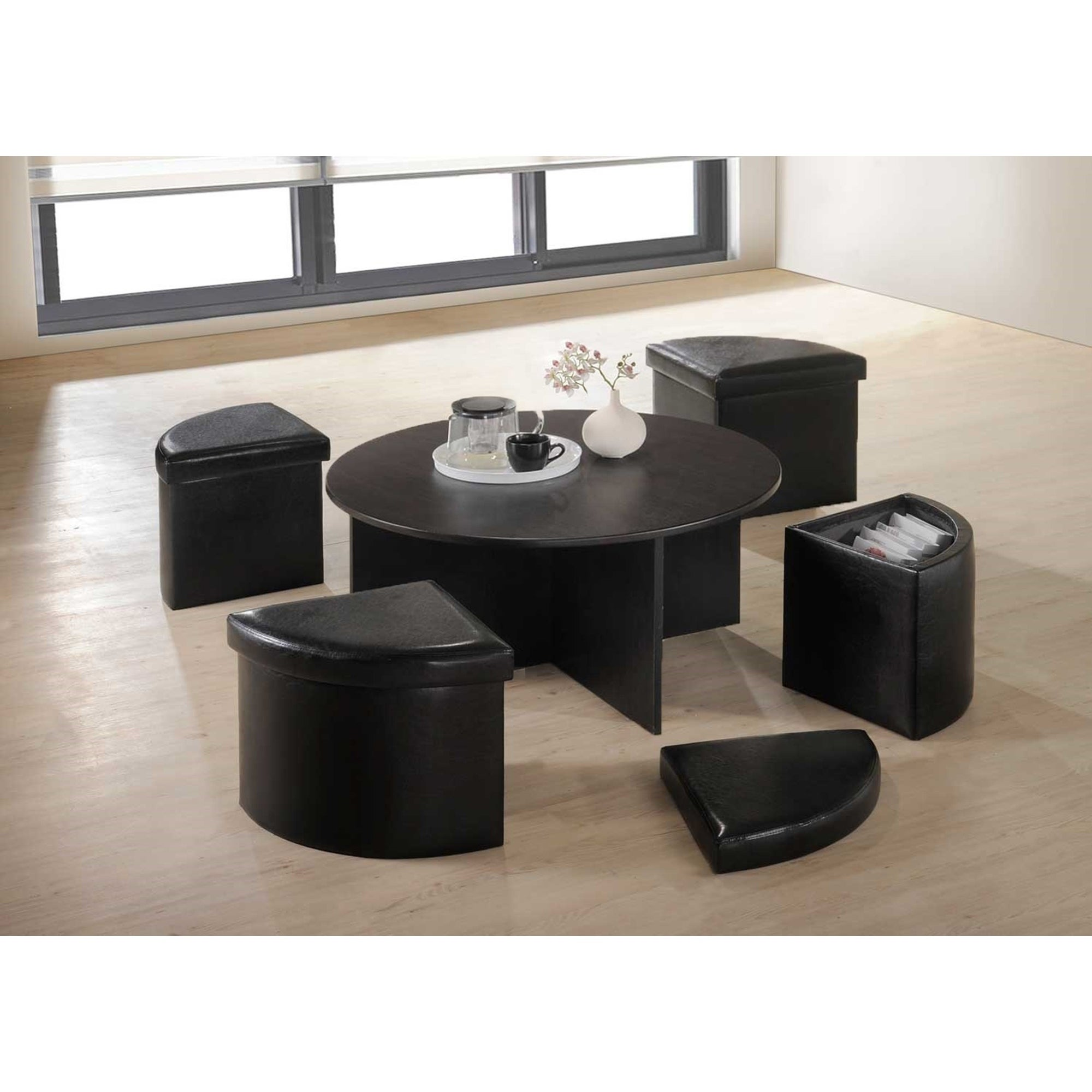 Black Faux Leather Wood 5 Piece Modern Storage Stool And Coffee Table Set