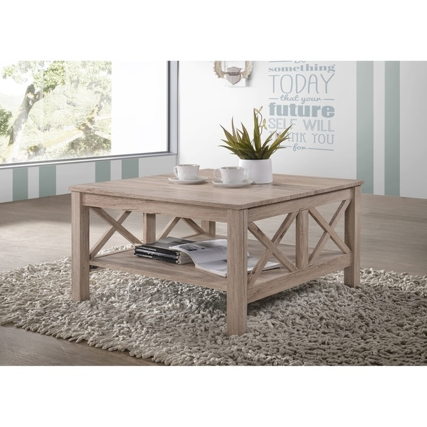 Light Brown/Grey Wood Rustic Square Coffee Table