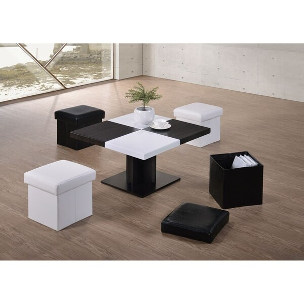 Modern Black/White Space-saving Indoor 5-piece Upholstered Stools & Coffee Table Set with Storage