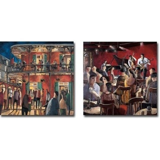 New Orleans Street & Blue Smoke by Didier Lourenco 2-piece Gallery Wrapped Canvas Giclee Art Set (Ready to Hang)