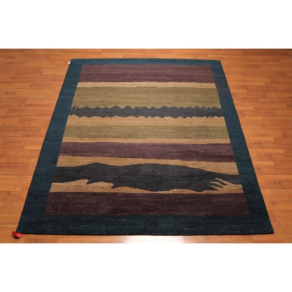 Designer Contemporary Hand Knotted Wool Tibetan Oriental Area Rug (8'x10') - 8' x 10'. Opens flyout.