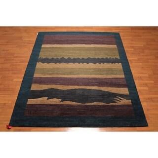 Designer Contemporary Hand Knotted Wool Tibetan Oriental Area Rug (8'x10') - 8' x 10'
