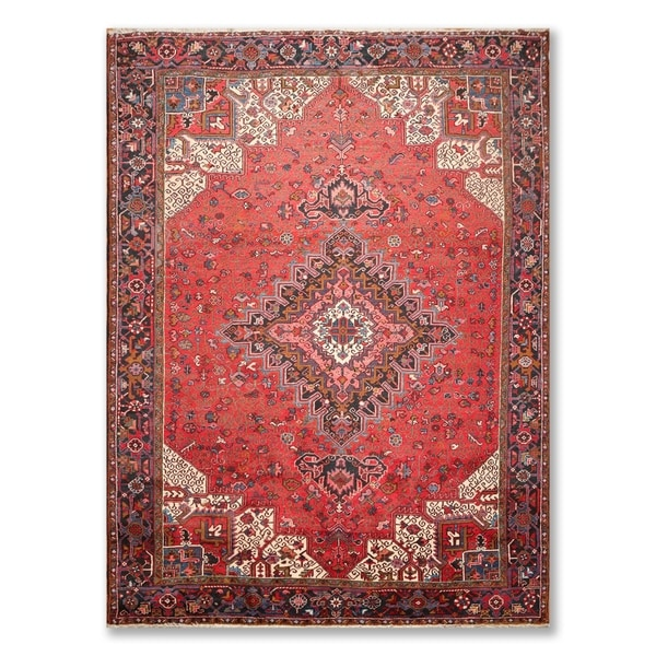 Hand Knotted Heriz Wool Fine Persian Oriental Area Rug: Shop Authentic Heriz Hand Knotted Wool Persian Oriental