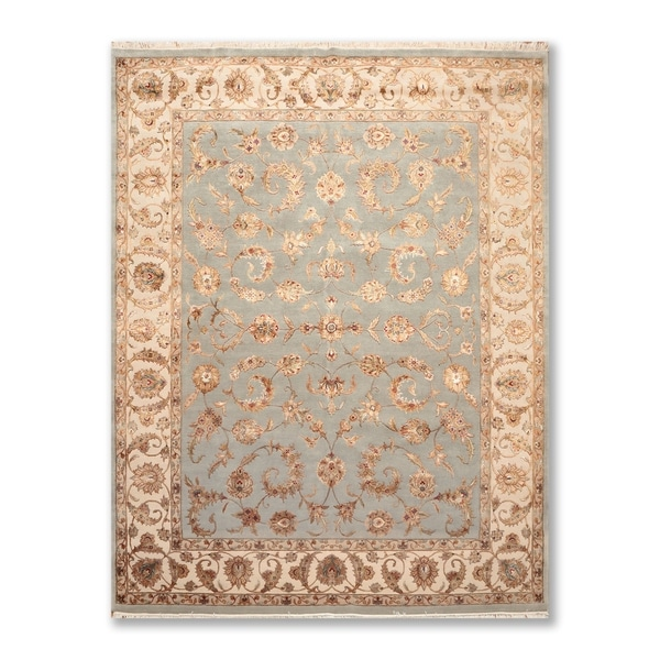 Hand Tufted Agra Red Gold Wool Rug 8 Round: Shop Silk Embossed Floral Motifs Hand Knotted Agra 200