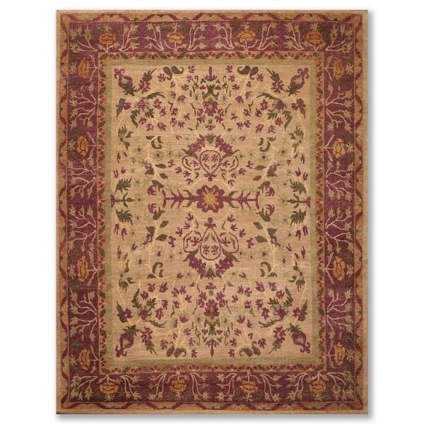Hand Knotted Arts & Crafts Wool Tibetan Oriental Area Rug (9'x12') - 9' x 12'