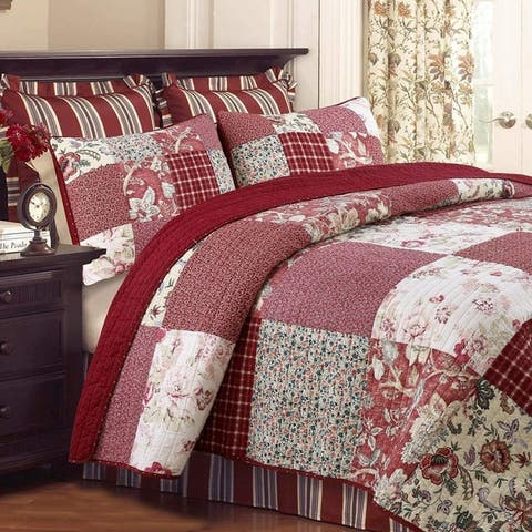 Cozy Line Thalia Real Patchwork 3 Piece Reversible Cotton Quilt Set