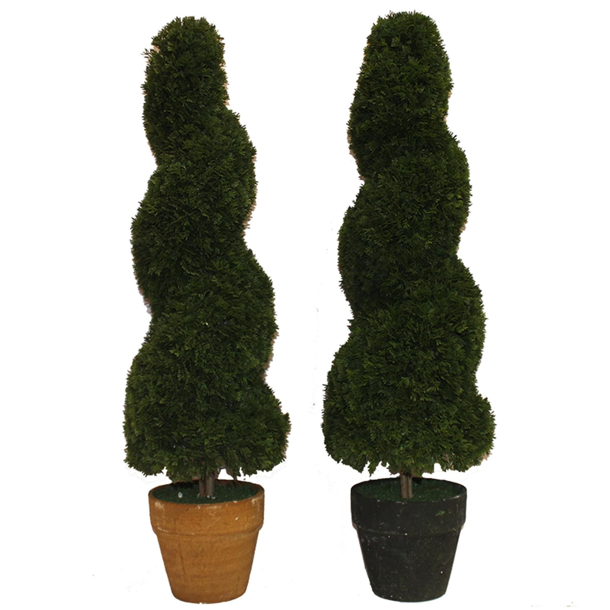 Essential Decor Beyond 2pc Spiral Floor Boxwood Topiary In Pot En112036 Green 30 X 9 X 9 Overstock 25558096