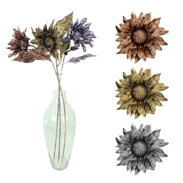 Essential Decor & Beyond 3pc. Single Sunflower Stem EN2635 - Pink/Yellow - 32 x 5 x 5