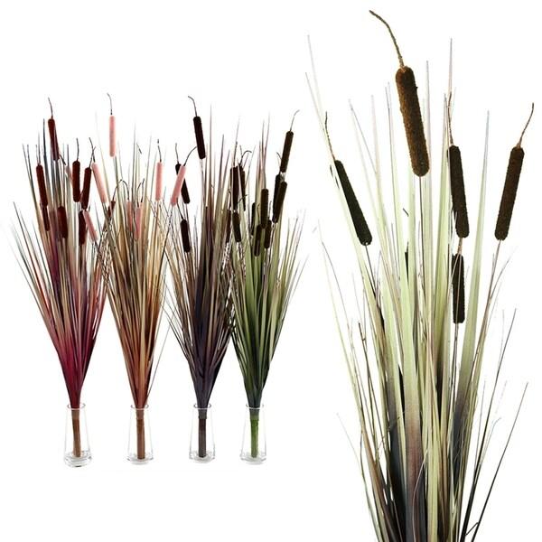 Essential Decor & Beyond 4pc. Bulrush Branch EN2628 - Green/Purple - 35 x 5 x 5