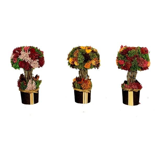 Essential Decor & Beyond 3pc. Small Floral Arrangement EN70341 - Orange/Pink - 10.5 x 7 x 7