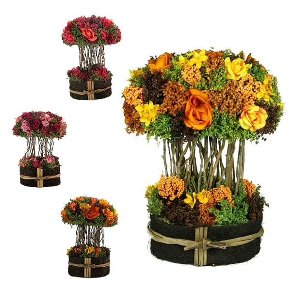Essential Decor & Beyond 3pc. Floral in Willow Base EN70339 - Pink/Yellow - 14.5 x 10 x 7.5