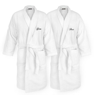 Kaufman - BRIDE and GROOM Embroidered Velour Sugar Cube White Robe. Set of 2