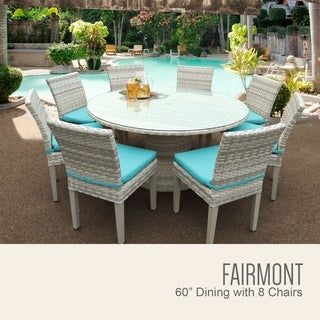Fairmont 60 Inch Outdoor Patio Dining Table with 8 Armless Chairs