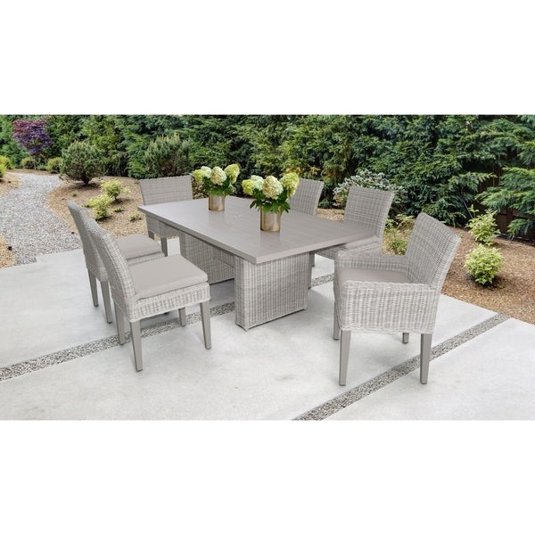 Coast Rectangular Outdoor Patio Dining Table with with 4 Armless Chairs and 2 Chairs w/ Arms
