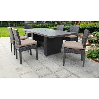 Barbados Rectangular Outdoor Patio Dining Table with 6 Armless Chairs